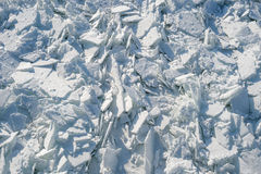 Detailed photo of frozen St-Lawrence River in Montreal, with cru Stock Image