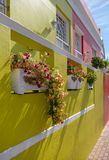 Detailed photo of house in the Malay Quarter, Bo-Kaap, Cape Town, South Africa. Historical area of brightly painted houses. Detailed photo of colourful house in royalty free stock photo