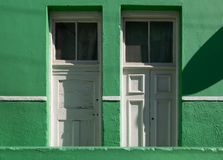 Detailed photo of house in the Malay Quarter, Bo-Kaap, Cape Town, South Africa. Historical area of brightly painted houses. Detailed photo of colourful green royalty free stock images