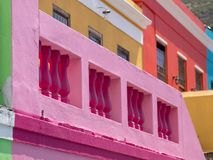 Detailed photo of houses in the Malay Quarter, Bo Kaap, Cape Town, South Africa. Historical area of brightly painted houses. Detailed photo houses in the Malay stock photography