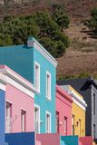 Detailed photo of houses in the Malay Quarter, Bo-Kaap, Cape Town, South Africa. Historical area of brightly painted houses. Detailed photo of colourful houses royalty free stock images