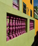 Detailed photo of houses in the Malay Quarter, Bo-Kaap, Cape Town, South Africa. Historical area of brightly painted houses. Detailed photo of colourful houses royalty free stock image