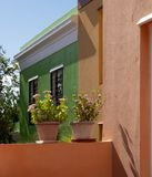 Detailed photo of houses in the Malay Quarter, Bo-Kaap, Cape Town, South Africa. Historical area of brightly painted houses. Detailed photo of colourful houses stock image