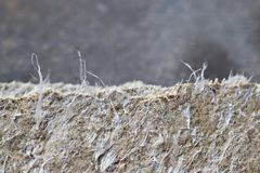 Detailed photography of roof covering material with asbestos fibres. Health harmful and hazards effects. stock photo