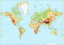 Detailed Physical World Map with no labeling. Vector illustration Stock Image
