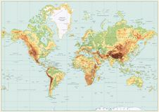 Detailed Physical World Map Retro Colors. No bathymetry Stock Images