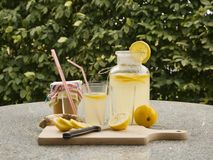 Detailed Picture of all ingredients neccesary to cook a homemade lemonade consist from water, lemon, ginger and glass of honey. Royalty Free Stock Photo