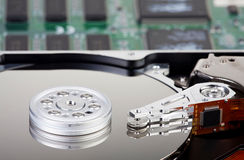 Detailed Picture of a opened hard disk drive Stock Images