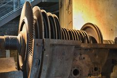Detailed Picture of the rotor of steam turbine for coal electric power plant. Stock Image