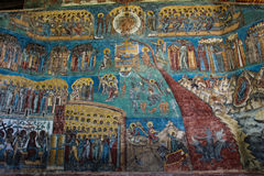 Detailed Picture of the Voronet Church. A detailed picture of one of the outside walls of the Voronet Church. It is one of the famous painted monasteries from Stock Photos
