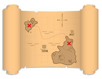 Detailed pirate map illustration Royalty Free Stock Photos