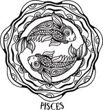 Detailed pisces in aztec style Stock Images