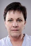 Detailed Portrait. Brunette older woman portrait, high detail, wrinkles and blemishes Royalty Free Stock Images