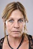 Detailed Portrait. Brunette older woman portrait, high detail, wrinkles and blemishes Stock Photos