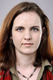 Detailed Portrait. Brunette older woman portrait, high detail, wrinkles and blemishes Stock Images