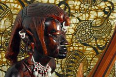 African Warrior (wood carving) Stock Photo