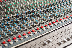Detailed professional audio mixer. Sound mixer in recording studio, closeup Royalty Free Stock Photography