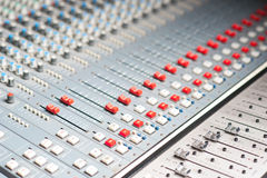 Detailed professional audio mixer. Sound mixer in recording studio, closeup stock illustration