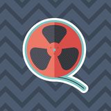 Film reel sticker flat icon with color background. Detailed and realistic sticker flat design icon with color background Stock Photography