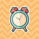 Retro alarm clock sticker flat icon with color background. Detailed and realistic sticker flat design icon with color background Stock Photo