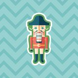 Retro nutcracker sticker flat icon with color background. Detailed and realistic sticker flat design icon with color background Royalty Free Stock Photography