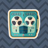 Retro tape recorder sticker flat icon with color background. Detailed and realistic sticker flat design icon with color background Stock Photography