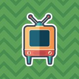 Retro television receiver sticker flat icon with color background. Detailed and realistic sticker flat design icon with color background Royalty Free Stock Photos