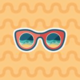 Sunglasses beach reflection sticker flat icon with color background. vector illustration