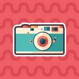 Vintage film camera sticker flat icon with color background. Detailed and realistic sticker flat design icon with color background Stock Image