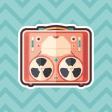 Vintage tape recorder sticker flat icon with color background. Detailed and realistic sticker flat design icon with color background Stock Image