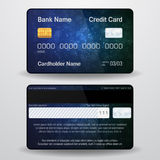 Detailed realistic vector credit card. Front and back side. Money, payment symbol
