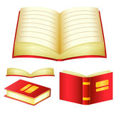 Detailed Red Books Vector Pack with Different Angles Royalty Free Stock Images