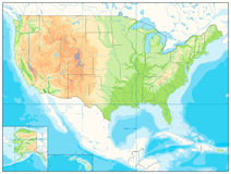 Detailed Relief map of USA. No text Royalty Free Stock Images