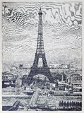 Detailed reprography of a vintage engraved illustration from Eiffel Tower Stock Photography