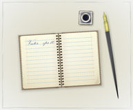 Detailed retro notebook, inkwell and pen stock illustration