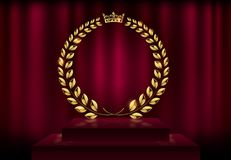 Detailed round golden laurel wreath crown award on velvet red curtain background and stage podium. Gold ring frame logo. Victory. Honor achievement, quality royalty free illustration