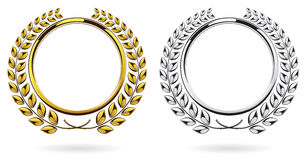 Detailed round silver and golden laurel wreath award set  on white background Stock Image
