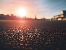 Detailed  Running Track At A Sport Stadium. Close up red racetrack Stock Image