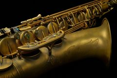 Detailed Saxophone Closeup on Black Stock Photo