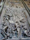 Detailed sculptures on the Holy door of the basilica of St Paul outside the walls Stock Image