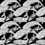 Detailed seamless pattern with whales. Royalty Free Stock Image