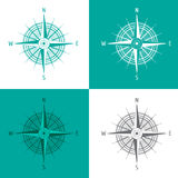 Detailed set Compass Windrose  on white Royalty Free Stock Photo