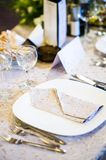 Detailed shot of indoor wedding table arrangement Royalty Free Stock Photo
