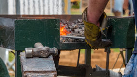 Detailed shot of metal being worked at a blacksmith forge Stock Photo