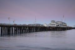 Wharf in Santa Barbara, California, at dusk. Royalty Free Stock Image