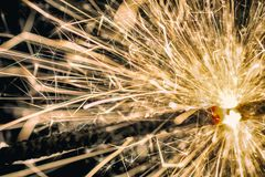 Detailed shot of the sparkling sparkler royalty free stock image