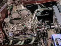 Detailed side closeup view of retro classic vintage car engine Stock Photography