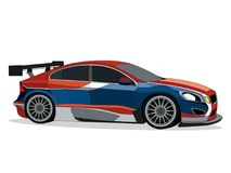 Red blue sports car. Detailed side of a flat red blue sports car cartoon  with shadow and white background Stock Images
