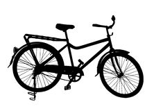 Detailed Silhouette Image of a Bicycle on its Stan Stock Image