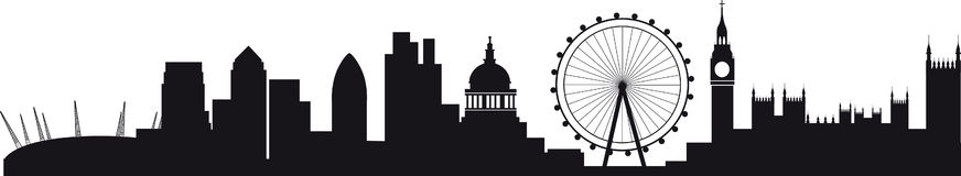 Detailed Silhouette Of London Skyline Stock Photos